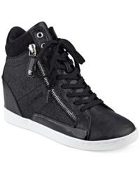 G By Guess Damsel High Top Wedge Sneakers Women's Shoes Black Glitter