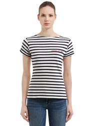 Maison Labiche Crazy In Love Striped Jersey T Shirt Off White Black
