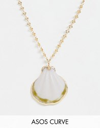 Asos Design Curve Necklace With Sea Shell Pendant And Detailed Chain In Gold