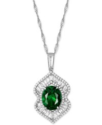 Macy's Cubic Zirconia And Glass Stone 16 Pendant Necklace Emerald