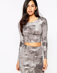 Ax Paris Long Sleeve Crop Top In Metallic Print Grey