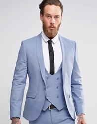 Noose And Monkey Suit Jacket With Stretch And Shawl Lapel In Super Skinny Fit Sky Blue