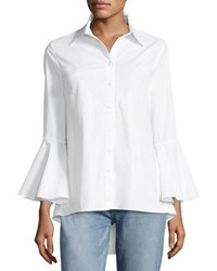 Neiman Marcus Bell Sleeve Poplin Button Front Tunic White