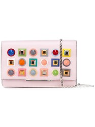 Fendi Studded Chain Wallet Pink