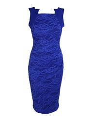 Feverfish Lace Pleat Dress Blue