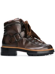 Santoni Lace Up Hiking Ankle Boots Brown