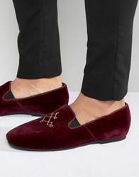 Hudson London Velvet Loafers Red