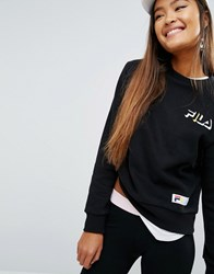 Fila Relaxed Boyfriend Sweatshirt With Chest Logo Black