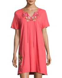 Johnny Was Drawstring Neck Peasant Dress Pink