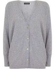 Mint Velvet Silver Grey Cocoon Cropped Cardigan Grey