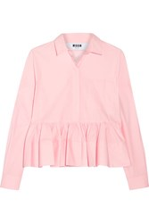 Msgm Stretch Cotton Blend Poplin Peplum Shirt Baby Pink