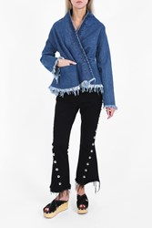Marques Almeida Women S Draped Denim Jacket Boutique1 Blue