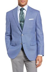 David Donahue Men's Big And Tall Connor Classic Fit Houndstooth Wool Sport Coat Blue