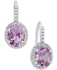 Macy's Amethyst 2 2 5 Ct. T.W. And Diamond Accent Drop Earrings In Sterling Silver