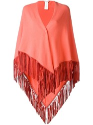 Agnona Fringed Knitted Poncho Yellow Orange