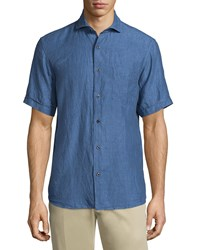 Neiman Marcus Linen Chambray Short Sleeve Shirt Atlantis