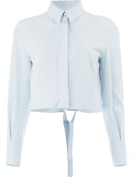 Maison Ullens Cropped Tie Back Shirt Blue