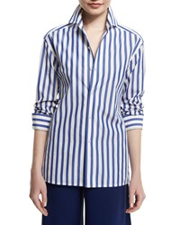 Ralph Lauren French Capri Striped Dress Shirt White Classic Blue Women's White Classicblue