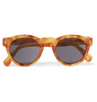 Illesteva Leonard Round Frame Acetate Mirrored Sunglasses Tan