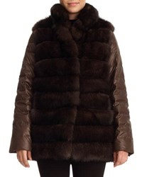 Gorski Sable Fur And Silk Two Piece Down Jacket Brown
