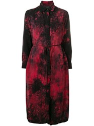 Amiri Tie Dye Print Shirt Dress Red