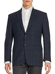 Ralph Lauren Plaid Wool Blazer Navy