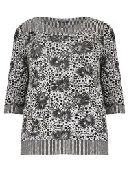 Samya Plus Size Floral Multi Print Top Grey