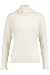 N.Peal Cashmere Ruffle Trimmed Cashmere And Silk Blend Turtleneck Sweater Ivory