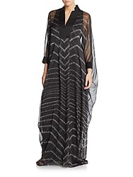 Halston Chevron Striped Caftan Dress Black