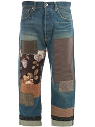 Junya Watanabe Patch Work Cropped Jeans Blue