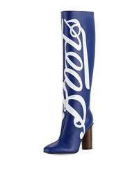 Anya Hindmarch Boots Knee High Leather Boot Dark Blue