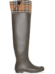 Burberry Vintage Check And Rubber Knee High Rain Boots Brown