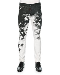 Dsquared Cool Guy Crow Print Skinny Jeans Black White