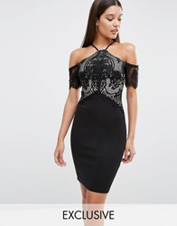 Lipsy Cold Shoulder Lace Mesh Bodycon Dress Black