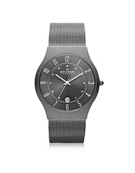 Skagen Grenen Steel Mesh And Titanium Case Men's Watch Gray