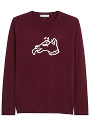 Bella Freud Burgundy Dog Intarsia Wool Jumper