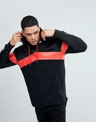 Soul Star Long Line Back Zip Stripe Hoodie Black