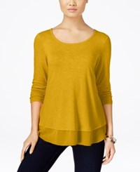 Styleandco. Style Co. Petite Chiffon Hem Top Only At Macy's Saffron Yellow