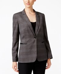 Tahari By Arthur S. Levine Asl Faux Leather Trim Plaid Blazer Grey Black