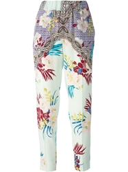 Etro Flower Print Trousers Pink And Purple