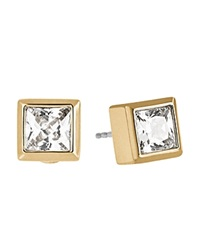 Michael Kors Square Cubic Zirconia Stud Earrings Gold Clear
