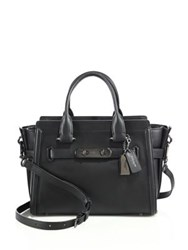 Coach Solid Leather Satchel Black