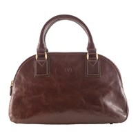 Maxwell Scott Bags Luxury Italian Leather Women's Bowling Bag Liliana S Chocolate Brown