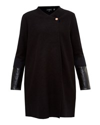Ted Baker Naysie Wool And Leather Jacket Black