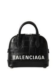 Balenciaga Xxs Ville Croc Embossed Leather Bag Black
