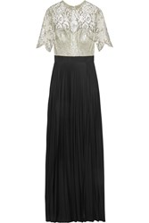 Catherine Deane Colette Metallic Lace And Jersey Gown Black