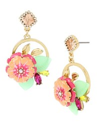 Betsey Johnson Tropical Punch Flower Cluster Round Drop Earrings Multicolor