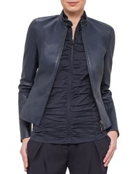 Akris Punto Fitted Stretch Leather Jacket Navy Women's