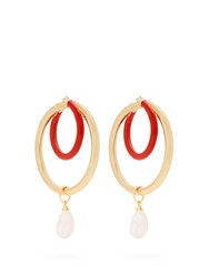 Peter Pilotto Large Glass Pendant Double Hoop Earrings Gold