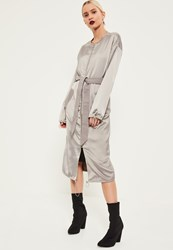 Missguided Grey Utility Silky Duster Coat